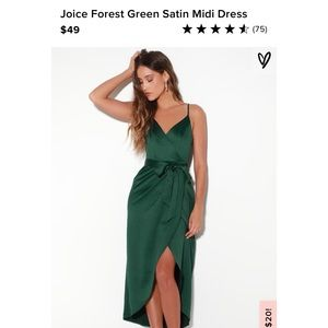 Lulu satin emerald dress